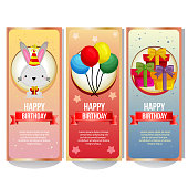 colorful birthday banner collection with cute rabbit balloon and present