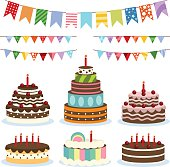 Colorful birthday banners and cakes