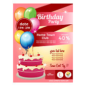 colorful birthday poster with cake and balloon decoration