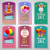 colorful birthday tag set rabbit balloon tart