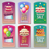 colorful birthday tag set with balloon and cake