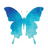 colorful blue watercolor butterfly