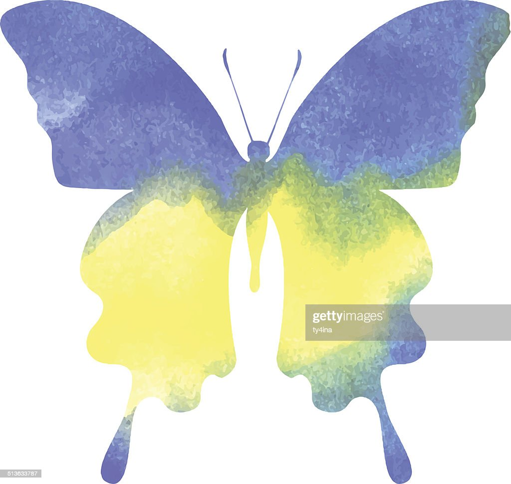colorful blue-yellow watercolor butterfly
