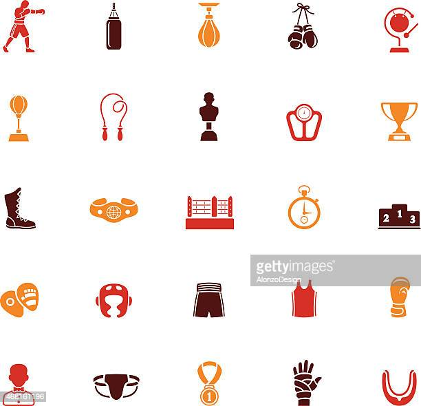 Colorful Boxing Icon Set