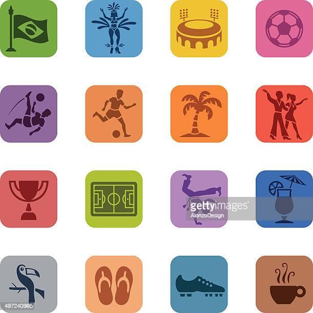 ilustrações de stock, clip art, desenhos animados e ícones de colorido conjunto de ícones do brasil - capoeira