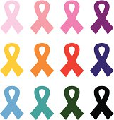 Colorful Breast cancer ribbons icon set isolated on white
