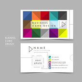 colorful brick vector business card set