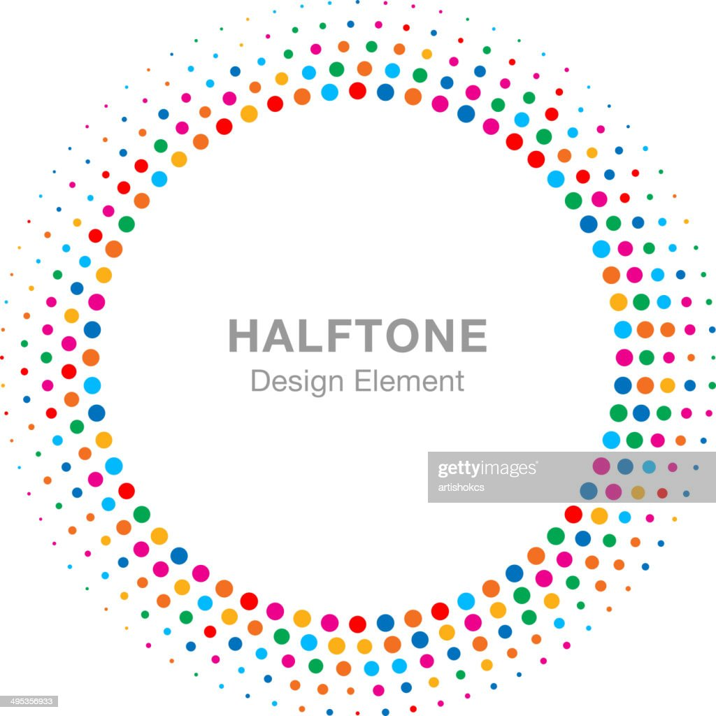 Colorful Bright Abstract Halftone Design Element
