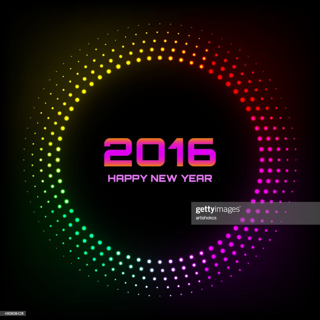 Colorful Bright Abstract Halftone New Year 2016 Background