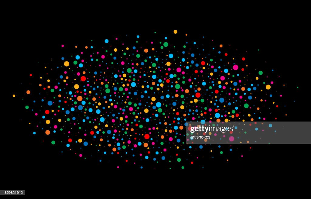 Colorful bright rainbow colors oval cloud confetti round papers isolated on black background. Birthday template and Holiday design element.  Bright new year 2018 card background.