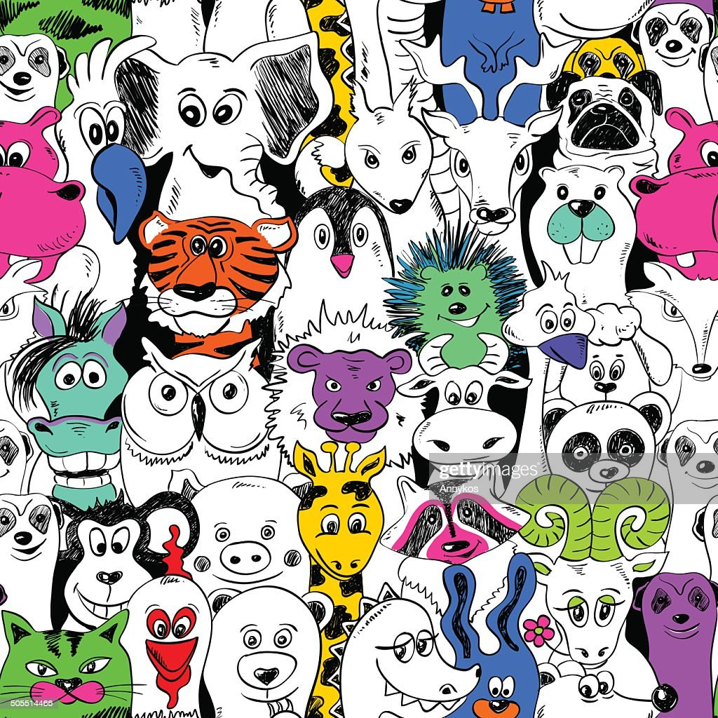 Colorful Bright Seamless Pattern With Animals.