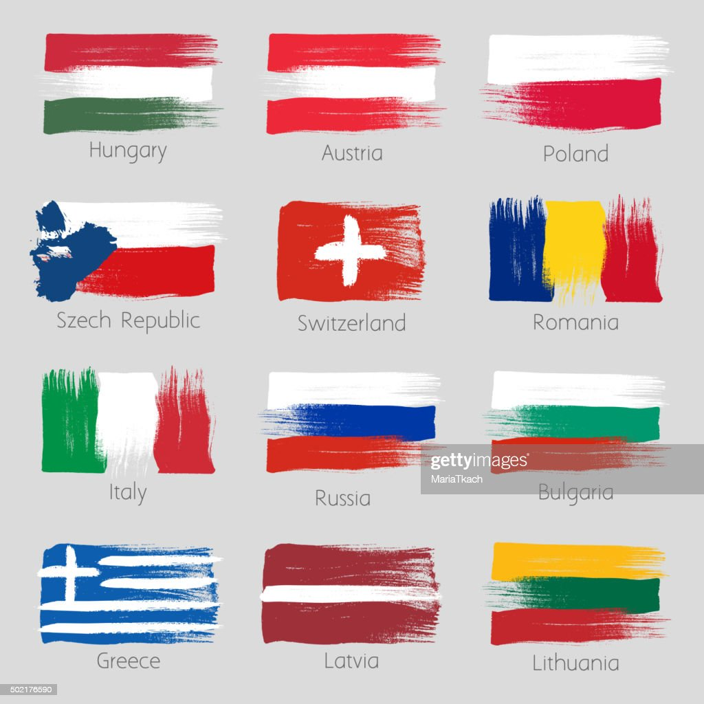 Colorful brush strokes painted european countries flags set
