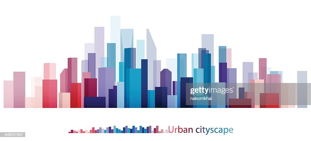 Colorful Building and City, Abstract of city, The image twilight in city.