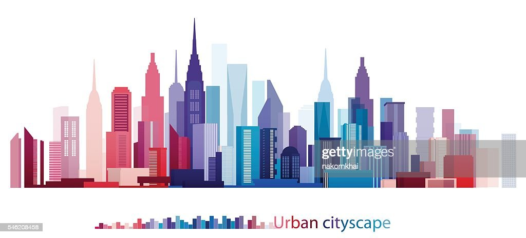 Colorful Building and City, Urban cityscape, Abstract City scene, Twilight in city