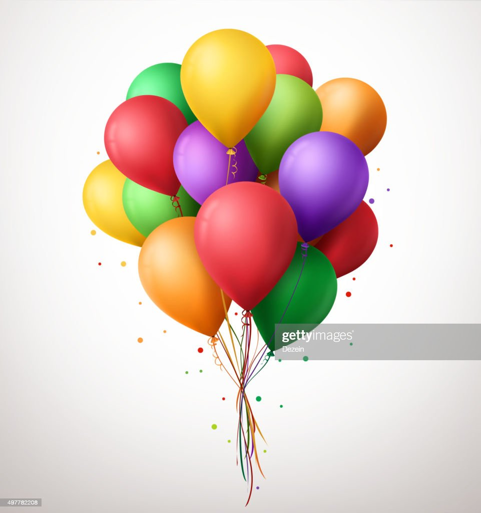 Colorful Bunch of Birthday Balloons Flying for Party and Celebrations