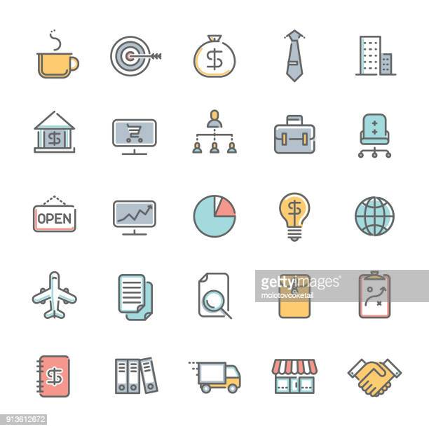 colorful business minimalist line icon set 2