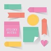 Colorful business sticky notes set for concept design. Modern vector illustration