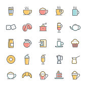 colorful cafe minimalist line icon set