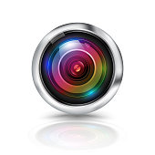Colorful camera lens on white background. Vector illustration.