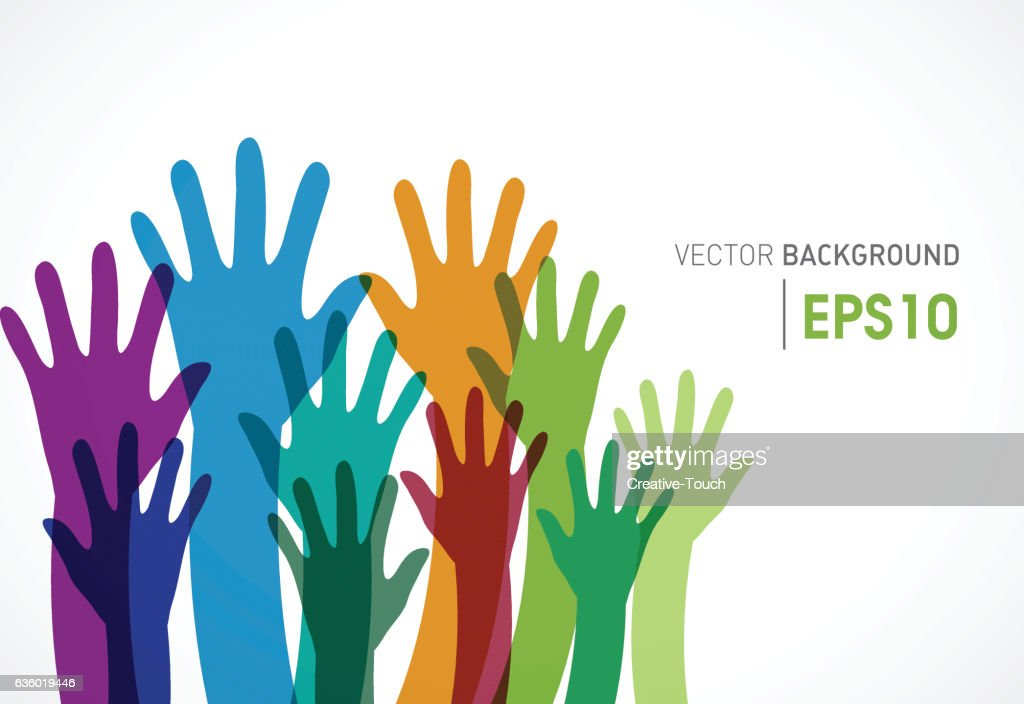 Colorful candidates community of human hands