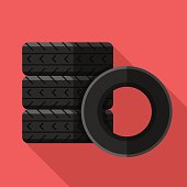 Colorful car tires icon in modern flat style