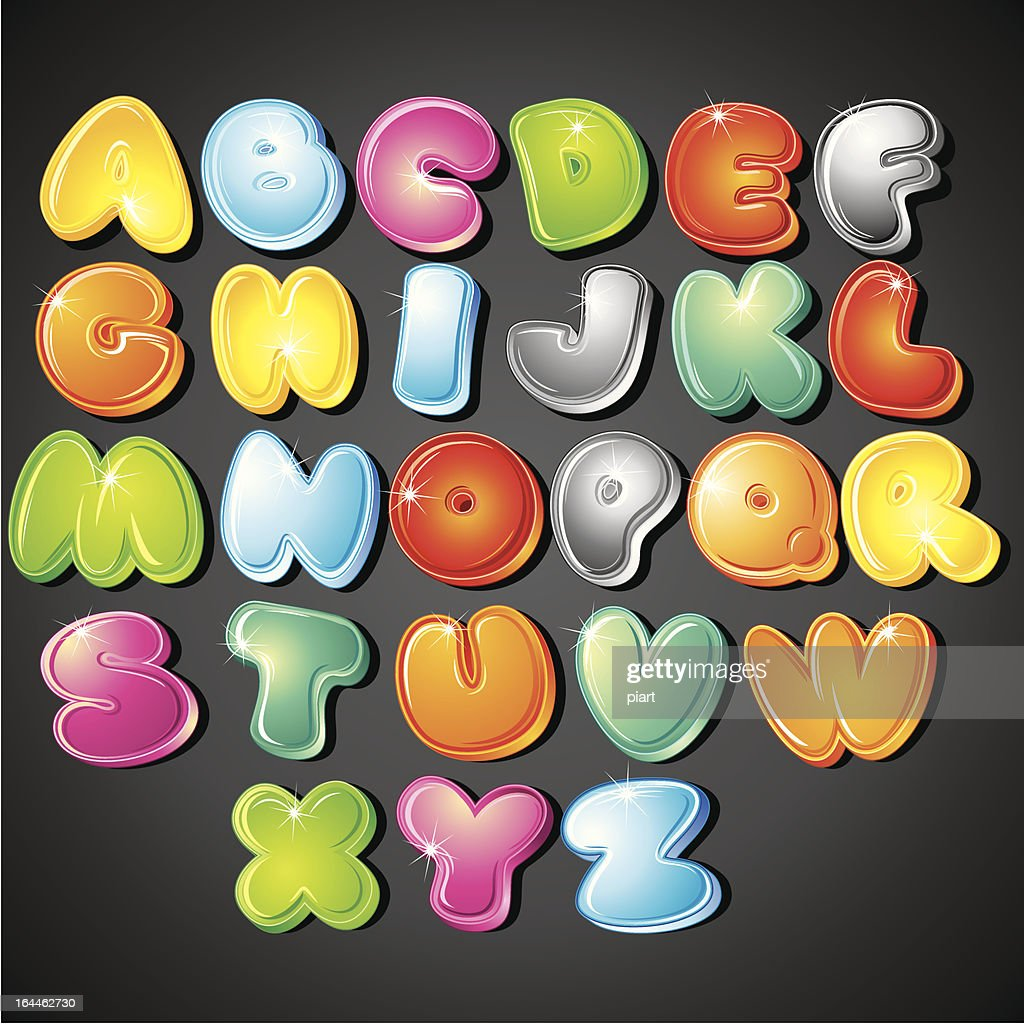 Colorful cartoon alphabet font