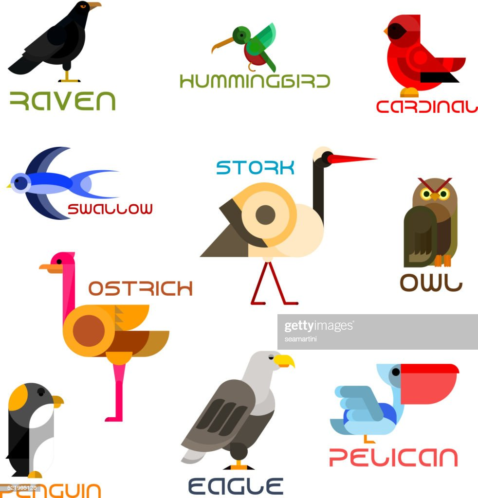 Colorful cartoon birds icons in flat style