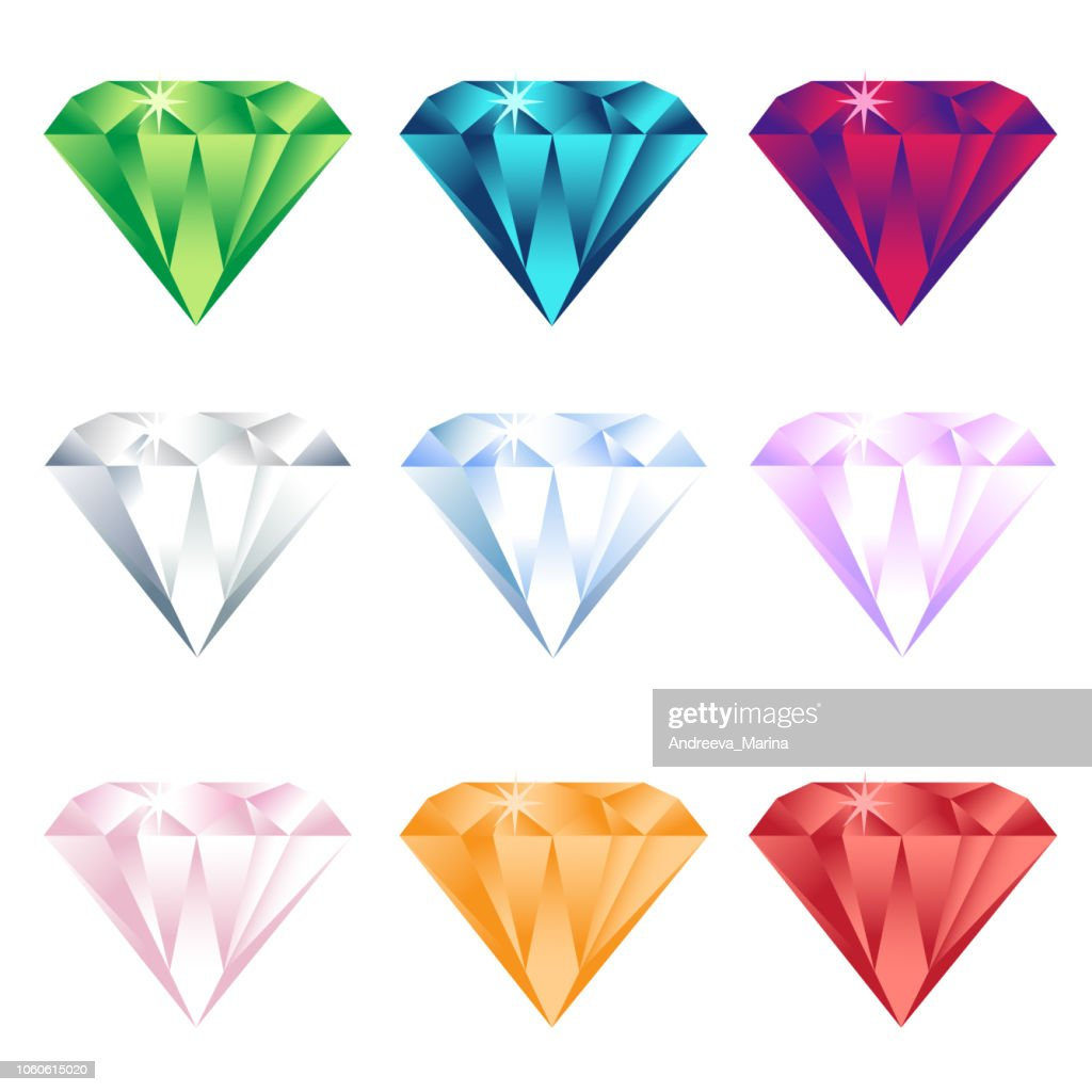 Colorful cartoon diamonds icons realistic vector set