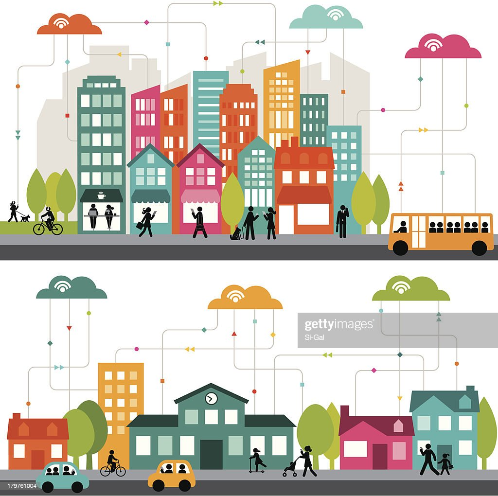 Colorful cartoon illustration of a connected city : stock illustration