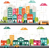 Colorful cartoon illustration of a connected city