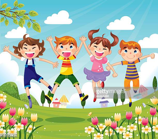 Colorful cartoon of Happy children jumping
