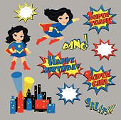 Colorful cartoon text captions. Explosions and noises. Super Girl. Birthday.