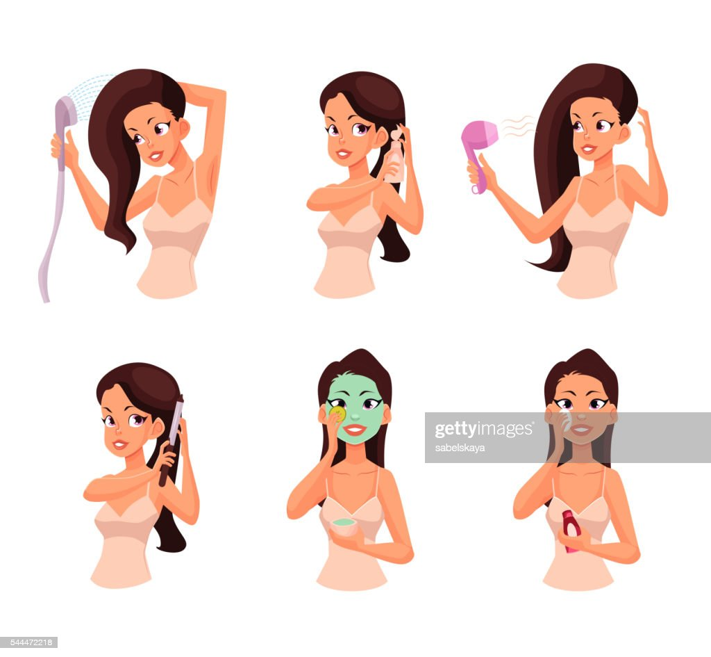 Colorful cartoon vector illustration of pretty woman doing beauty procedures