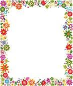Colorful cartoonish floral pattern border frame