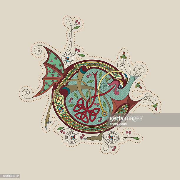 colorful celtic illumination of the initial leter c - book of kells stock illustrations