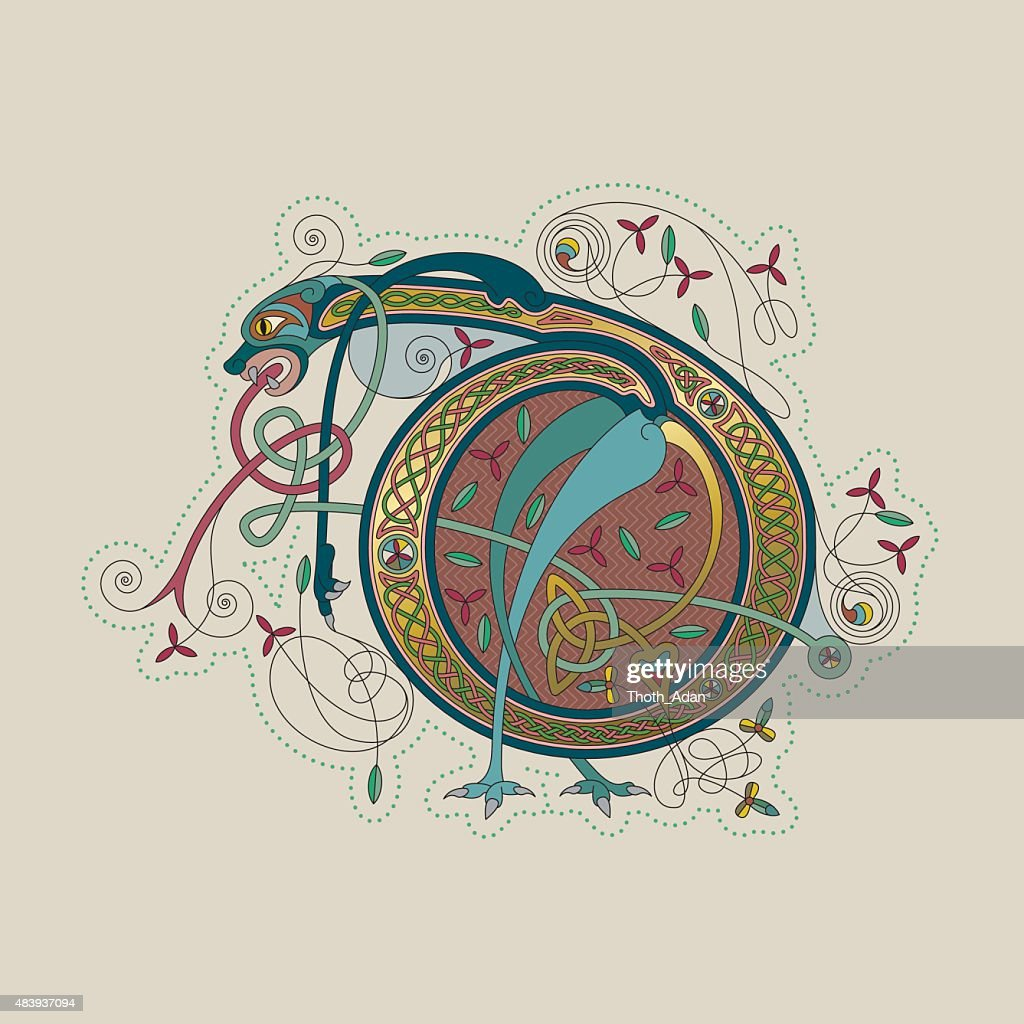Colorful celtic illumination of the initial leter D : stock illustration