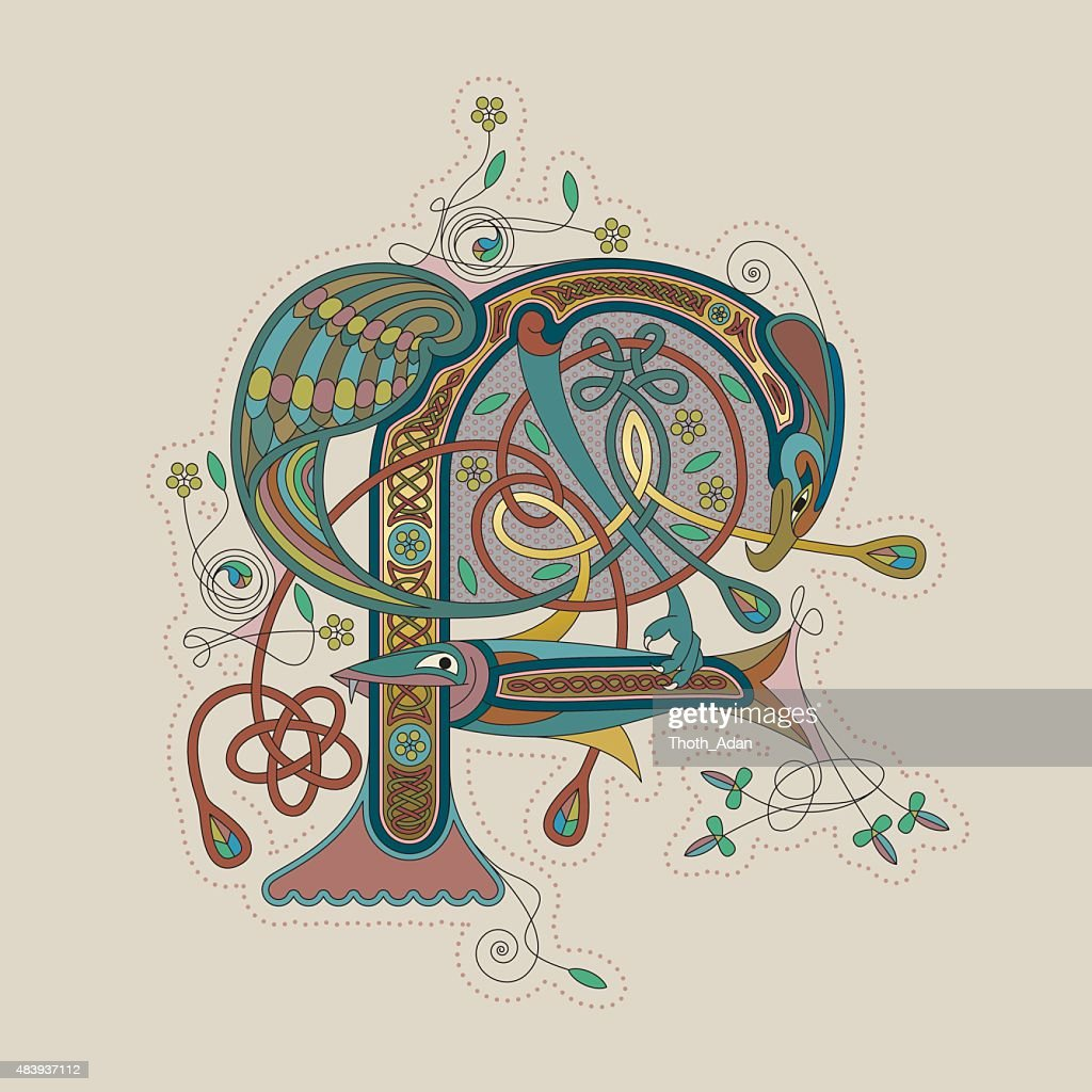 Colorful celtic illumination of the initial leter F