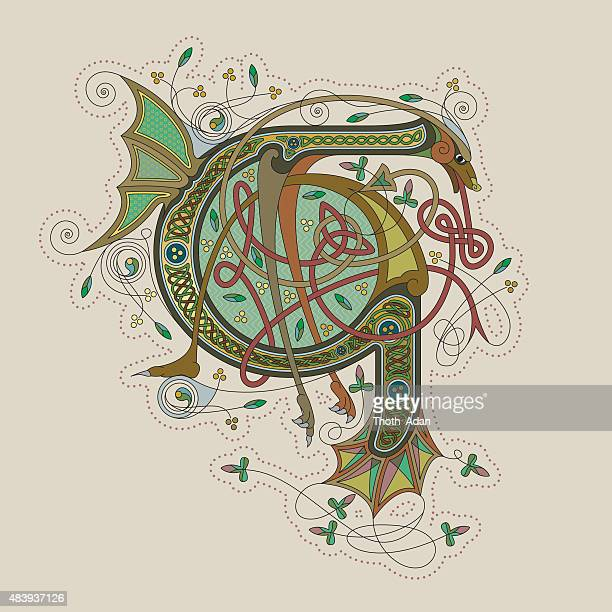 colorful celtic illumination of the initial leter g - book of kells stock illustrations