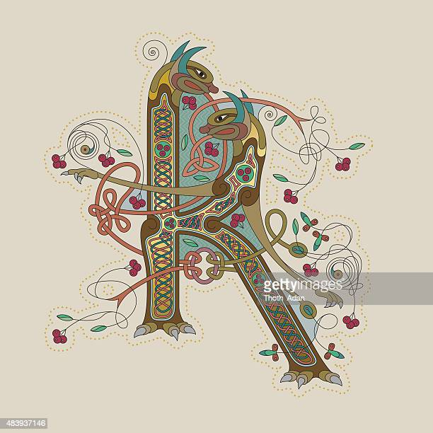 colorful celtic illumination of the initial leter k - book of kells stock illustrations
