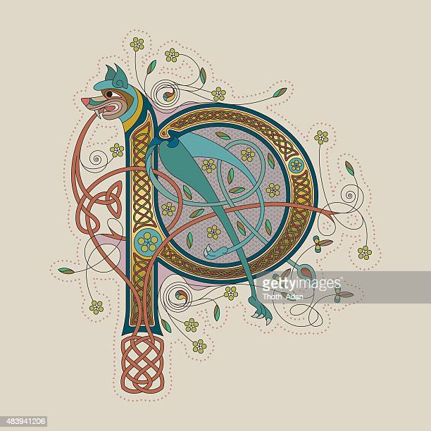 colorful celtic illumination of the initial leter p - book of kells stock illustrations