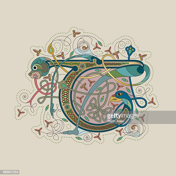 colorful celtic illumination of the initial leter t - book of kells stock illustrations
