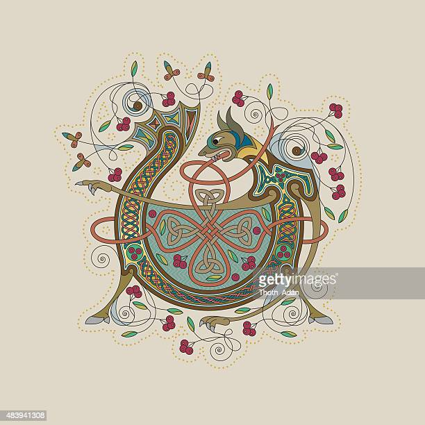 colorful celtic illumination of the initial leter v - book of kells stock illustrations