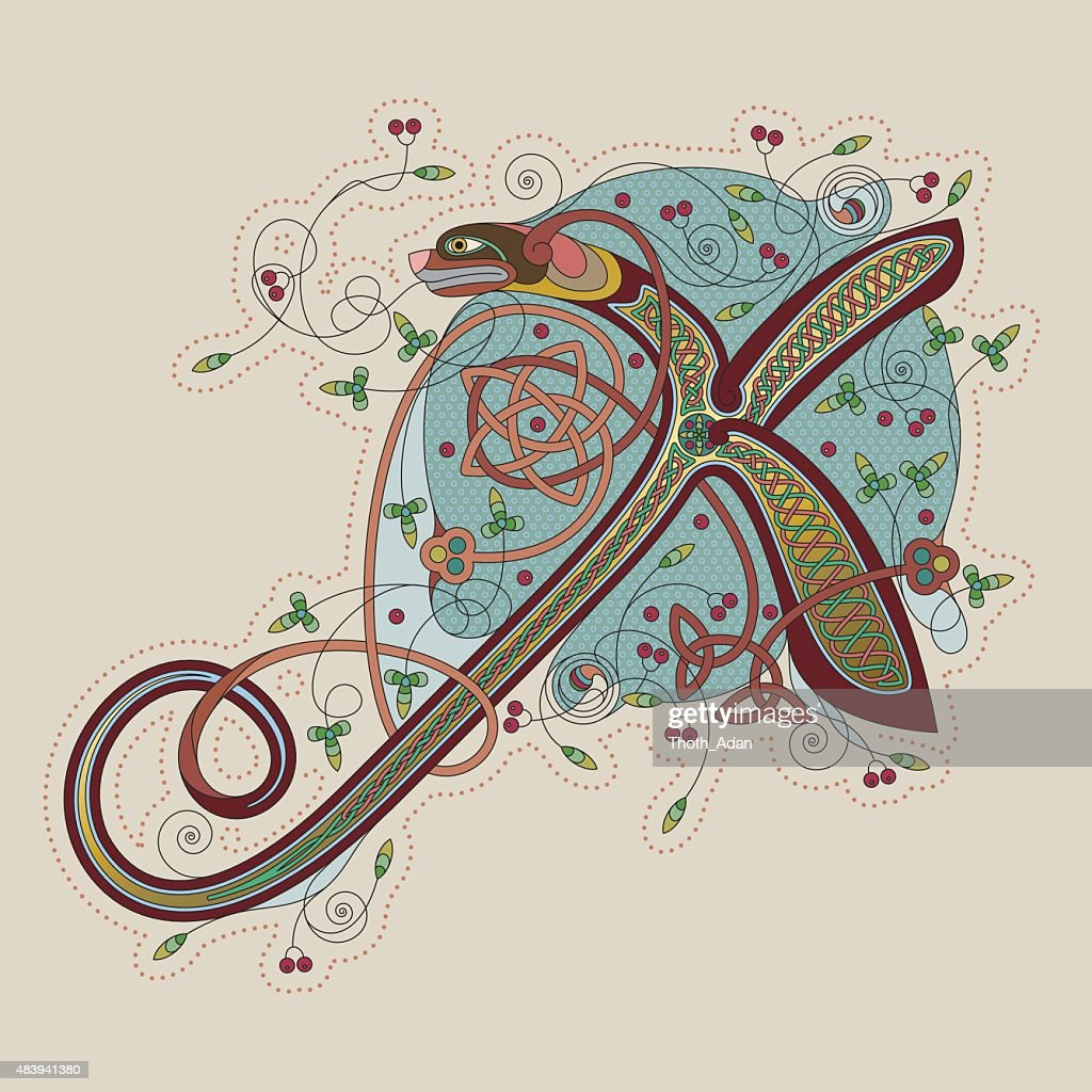 Colorful celtic illumination of the initial leter X