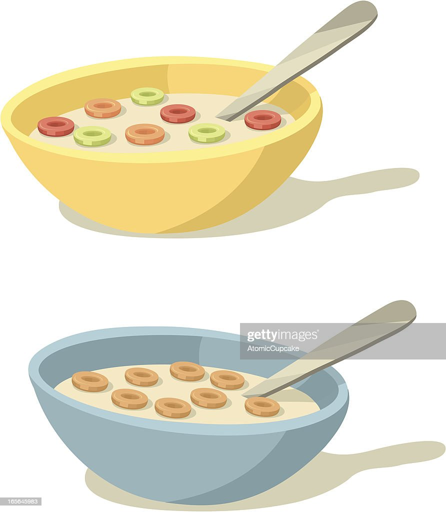 Colorful Cereal Bowls for Breakfast : stock illustration