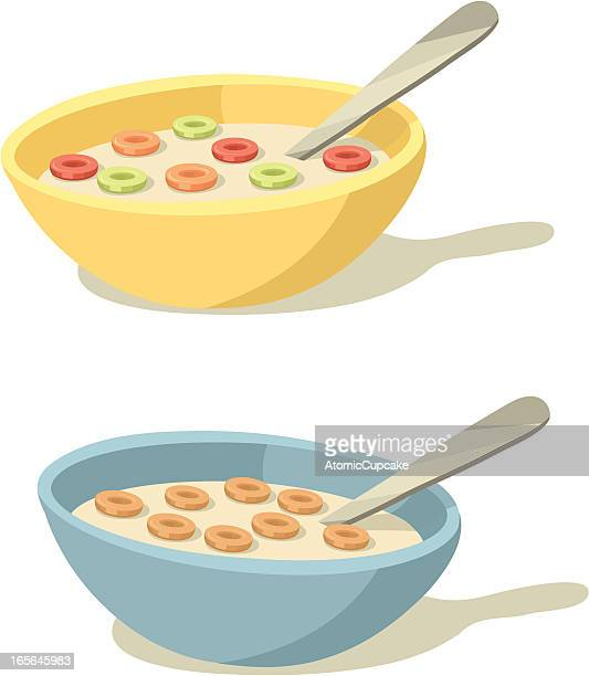 colorful cereal bowls for breakfast - breakfast cereal stock illustrations, clip art, cartoons, & icons