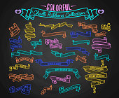 Colorful chalk ribbons collection, hand draw on black board vector illustration. Set of ribbons for Valentines Day with love quotes