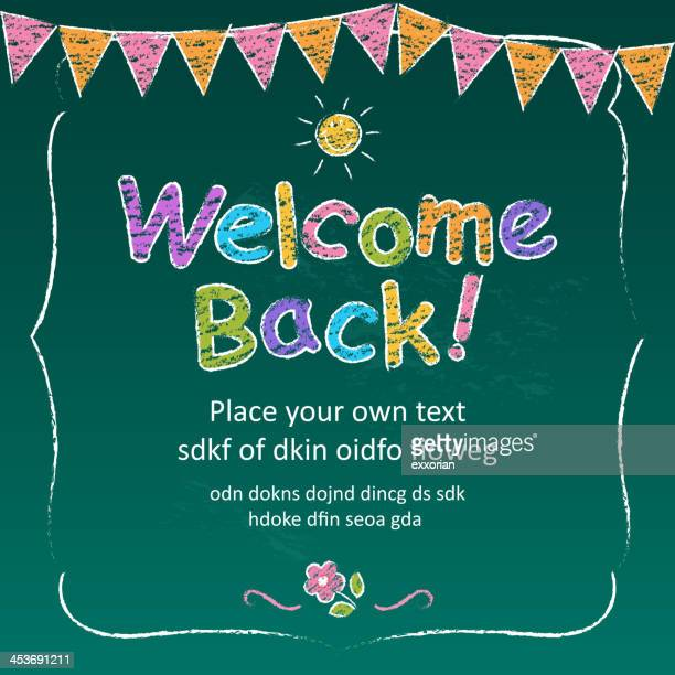 Colorful chalk welcome back template