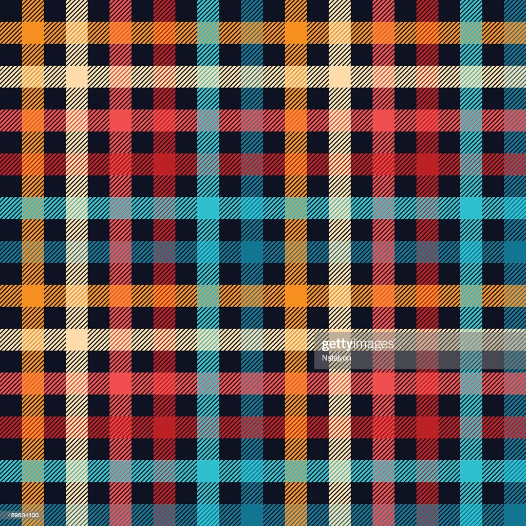 Colorful checkered gingham plaid fabric seamless pattern in blue white