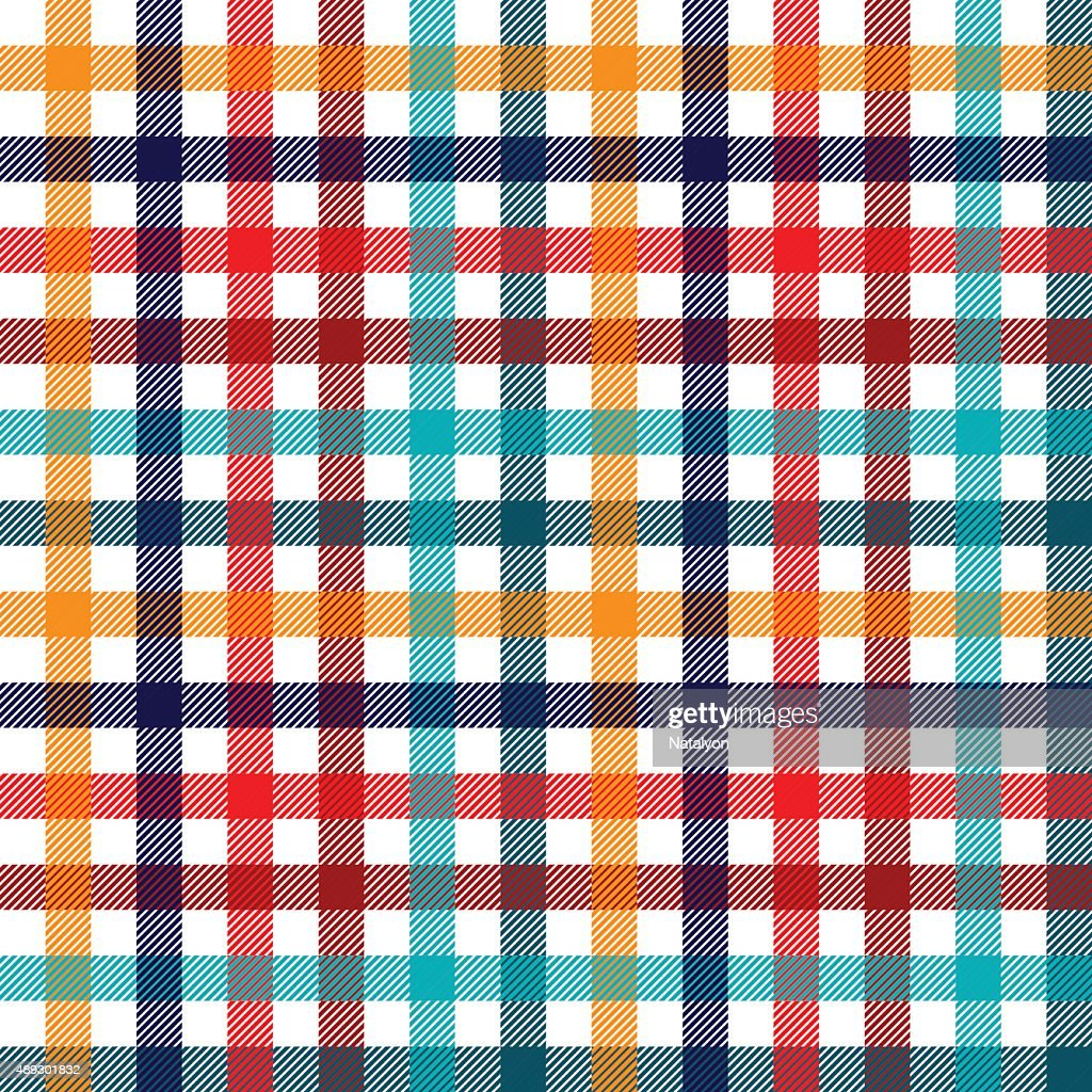 Colorful checkered gingham plaid fabric seamless pattern, vector print