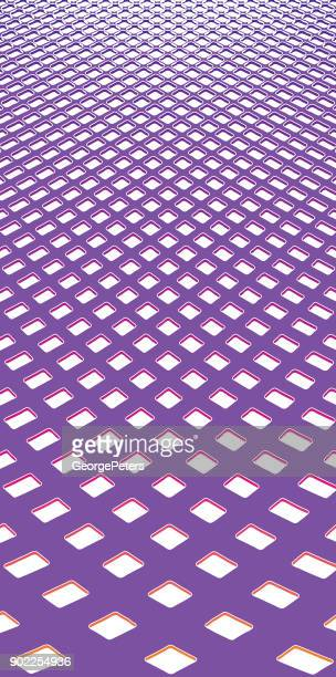 colorful checkered halftone pattern background with perspective - stretched image stock illustrations, clip art, cartoons, & icons